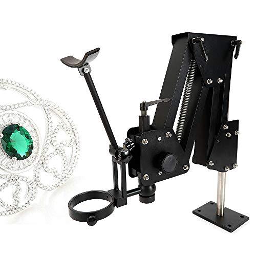 Micro Jewelry Inlaid Stand Multi-Directional Diamond Mirror Microscope Gem Diamond Setting Machine with Stand Inlaid Mirror Micro-Setting Microscope Jewelry Tools (85mmStand)