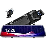 10' 2.5K Mirror Dash Cam for Cars with Full Touch Screen, Enhanced Night Vision with Sony Starvis Sensor, Waterproof Backup Camera Rear View Mirror Camera, Stream Media Rearview, Parking Assistance