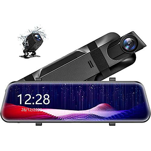 """10"""" 2.5K Mirror Dash Cam for Cars with Full Touch Screen, Enhanced Night Vision with Sony Starvis Sensor, Waterproof Backup Camera Rear View Mirror Camera, Stream Media Rearview, Parking Assistance"""