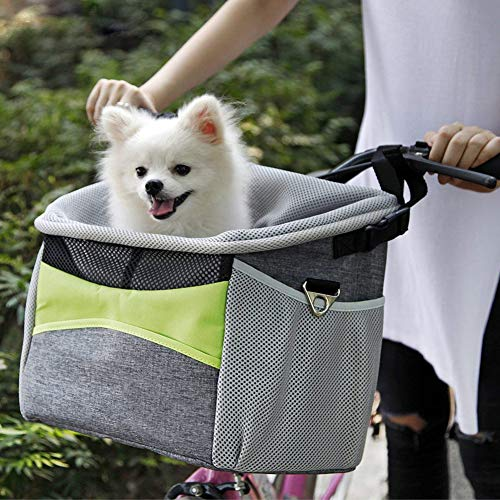 KLOP256 Fahrrad-Haustierkorb, Oxford-Stoff, atmungsaktiv, abnehmbarer Vordergriff, Fahrradkorb für Haustiere