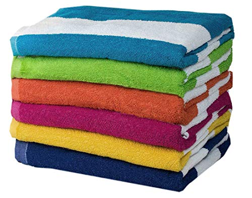 Espalma Copa Cabana Stripe Cotton Beach Towel Set, Over Sized Luxury 30 Inch Wide x 60 Inch Long Set of 6 - Soft and Plush Absorbent Terry Cotton Terry Pool, Spa Towel Set, 6 Color Pack, Multi
