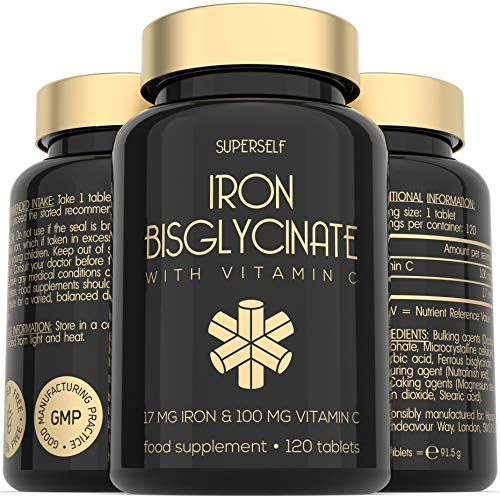 Gentle Iron Tablets 17mg - High Strength Iron Supplements for Women & Men - Enriched with Vitamin C for Increased Absorption - 120 Tablets - Ferrous Bisglycinate - Vegan - Made in the UK