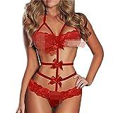 MERICAL Damen Sexy Dessous Babydoll Lace Bow Dress Nachtwäsche G-String Nachtwäsche