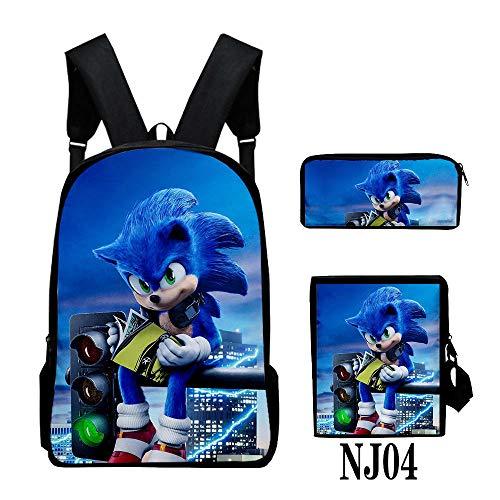 3PC / Set Mochila para niños, Juego Sonic The Hedgehog Patrón Estudiantes Mochilas Escolares Dibujos Animados Anime Adolescentes Mochilas Set