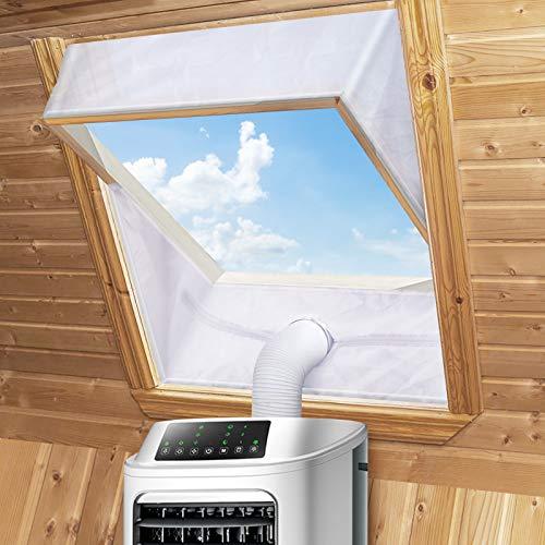 Fensterabdichtung für Mobile Klimageräte Dachfenster, Hot Air Stop zum Anbringen an Schwingfenster Fenster Dachfenster, Klimaanlage Fensterabdichtung für Max 380cm, Fensterkitt Set 2 * 190CM, Weiße