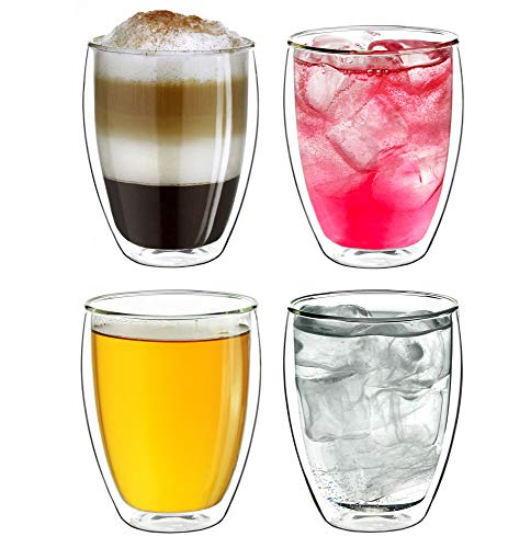 "Creano Thermogläser doppelwandig 250ml ""DG-Hoch"", 4er Set, großes hitzebeständiges Thermoglas aus Borosilikatglas, Kaffee-/Teeglas"