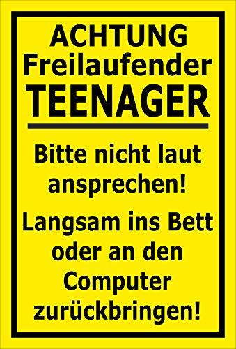 MelisFun Achtung - Freilaufender Teenager - lustiges Schild Geschenk-Idee Scherz-Artikel