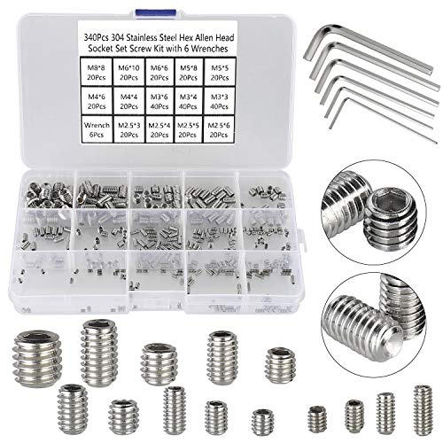 HanTof 340Pcs Metric M2.5/M3/M4/M5/M6/M8 304 Stainless Steel Allen Head Socket Hex Grub Screw,Set Screw Assortment Kit with 6 Hex Wrenches,Internal Hex Drive Cup-Point
