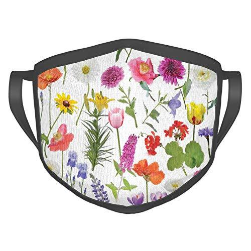 Máscara cómoda a prueba de viento, tipos de flores, rosas de colores vivos, tulipanes, hortensias, lilas, ilustraciones impresas, decoraciones faciales impresas para adultos