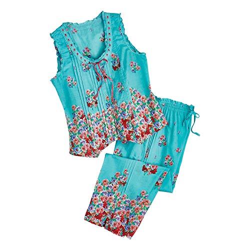 La Cera Women's Aqua Roses Pajamas - Blue PJ Sleeveless Shirt Capri Pants Set - 1X - Size 18-20
