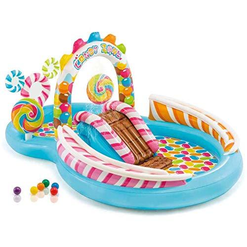 MROSW Aufblasbarer Swimmingpool Süßigkeit Paradise Wasserrutsche Rutsche Planschbecken Kinder Familie Schwimmen-Ozean-Ball Pool