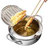 Deep Fryer Pot - Stainless Steel Japanese Tempura Fryer - Oil Drip Drainer Rack with Thermometer -...