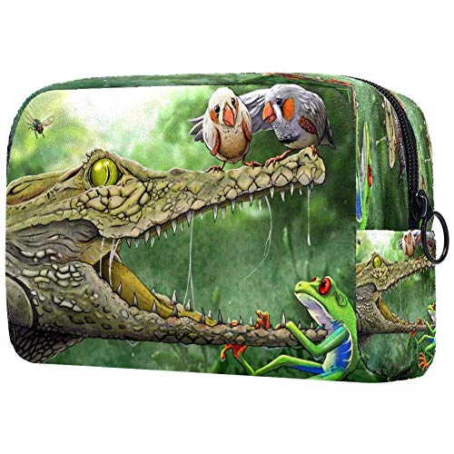 The Frog And The Croc Cosmetic Bag Makeup Pouch Case Organizer for Travel Portable Toiletry Purse for Girls, Women