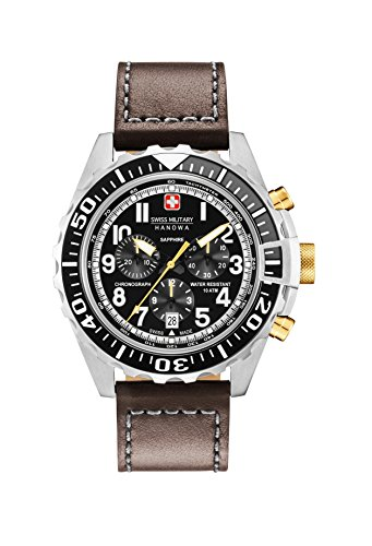 Swiss Military Herren Chronograph Quarz Uhr mit Leder Armband 06-4304.04.007.05