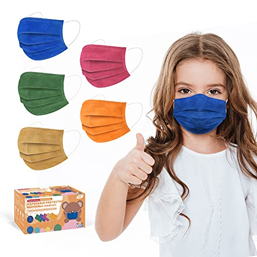 XDX Kids Face Mask, Disposable Face Masks Multicolored Print for Boys and Girls, 3-ply, Children's Size-for Childcare, School, Daily use (50PCS, 5 Colours)