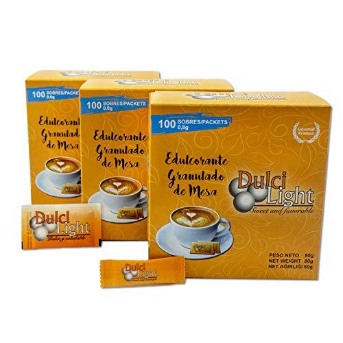 DULCILIGHT SUCRALOSA Total 300 Sobres, EDULCORANTE con el Sabor Natural del Azúcar Granulado Gourmet, Pack de 3 Estuches x 100 C/U.