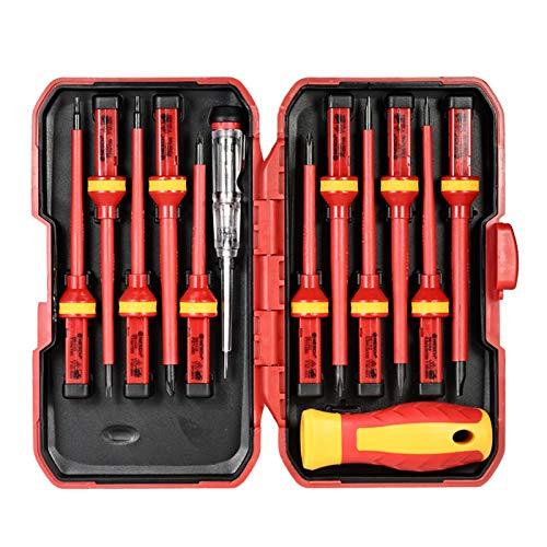 Wscoficey 13 unids 1000 V intercambiables destornilladores aislados con magnético ranurado Phillips Pozidriv Torx Bits Electricista Kit de herramientas de reparación