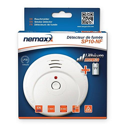 15x Nemaxx SP Rauchmelder Rauchwarnmelder fotoelektrisch nach DIN EN14604 mit 9V Lithiumbatterie mit 10 Jahren Lebensdauer