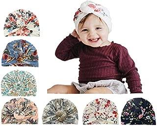 Baby Turbans Newborn Girl Headwraps Baby Girl Beanie Hat with Bow Hospital Nursery Hat