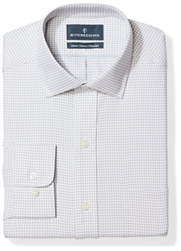BUTTONED DOWN Men's Classic Fit Spread Collar Pattern Non-Iron Dress Shirt, Grey Houndstooth, 16.5' Neck 35' Sleeve