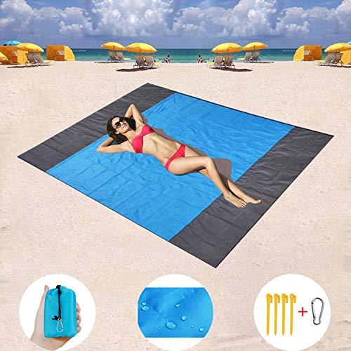 WEKNOWU Manta de Picnic Estera Impermeable para Playa, 210cmx200 cm Estera de Picnic para la Prueba de la Arena con Ancla para Viajes, Acampada, Senderismo