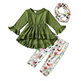 Toddler Little Girls Ruffle Flare Tunic Dress Top Striped Leggings Pants 2PC Fall Winter Outfit Set Clothes (2-3T, Green Flower)