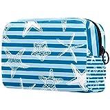 Bolsa De Maquillaje De Viaje Estrella De Mar Azul Bolsa De Cosméticos Organizador Portátil Bolso Monedero para Mujeres Y Niñas 18.5x7.5x13cm