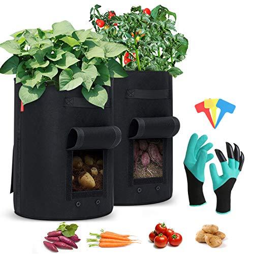king do way Sac à Plantes 2 pièces, Sac de Culture de Plantes, Sac à Plantes avec poignées Sac Respirant pour Pommes de Terre, tomates et Fraises (10 Gallon)