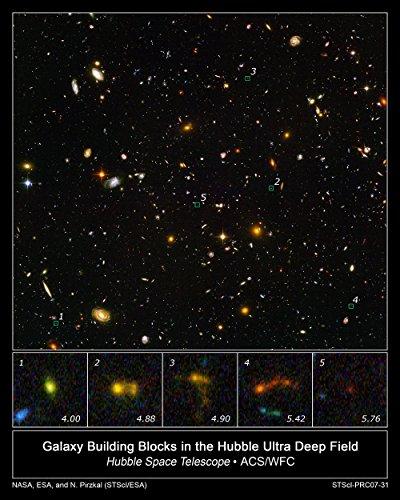 Hubble Telescope - Galaxy Building Blocks in Ultra Deep Field - Extra Large - Archival Matte - Brown Frame