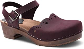 Swedish Wooden Low Heel Clog Sandals for Women | Milan