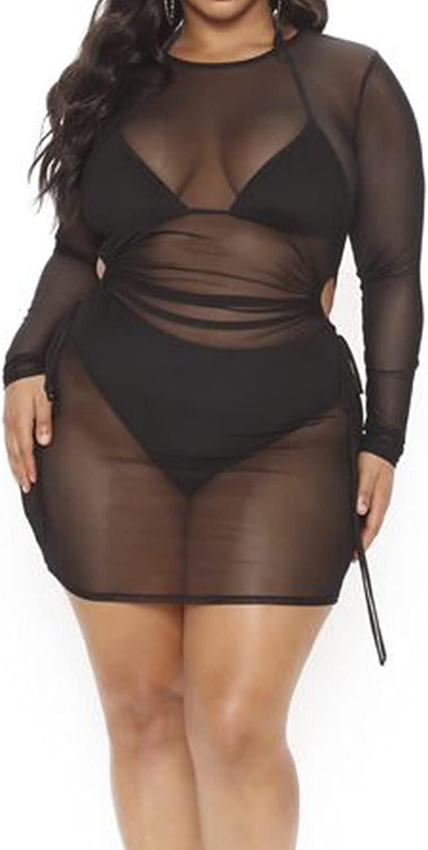 Women Plus Size Cover Ups for Swimwear Long Sleeve Sheer Mesh Night Out Dress Beach Cover up Mini Dress
