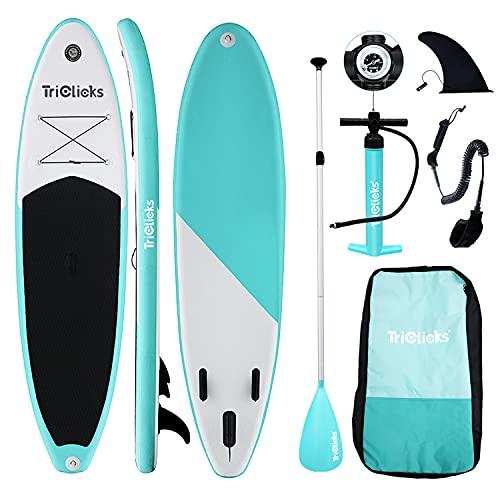 Triclicks Tabla Hinchable Paddle Surf/Sup Paddel Surf con Bomba, Mochila, Aleta Central Desprendible, Kit de Reparación, Remo Ajustable, La Cinta para Atar al Pie(300 * 75 * 15cm-Grosor) Verde