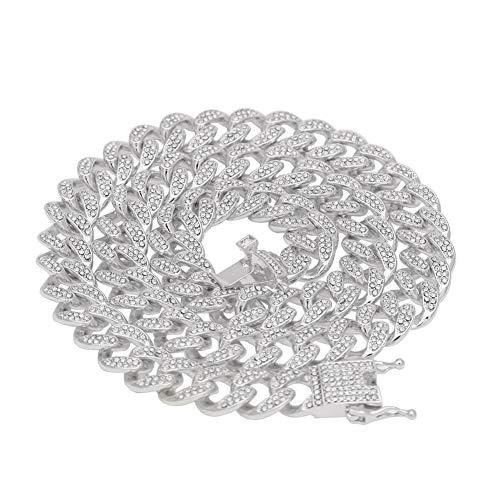 2019 hip hop nueva aleación 13mm diamante completo collar Cubano pulsera hombres y mujeres tendencia CubanNecklace (oro, plata), joyería, regalo, 123, plata, 56 cm
