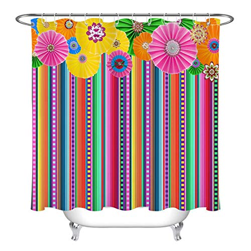 不适用 Ethnische Blume mexikanischen Karneval Karneval Stripe, wasserdicht Duschvorhang Polyester Material Maschinenwaschbar Badezimmer