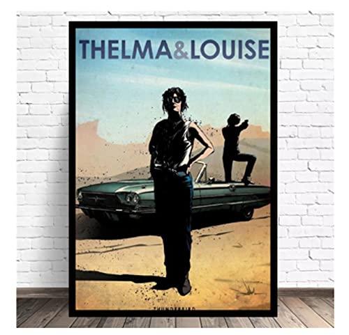 テルマ&ルイーズキャンバス絵画映画カーアートポスター額縁モダンミニマリスト寝室リビングルーム装飾-50x75cmフレームなし