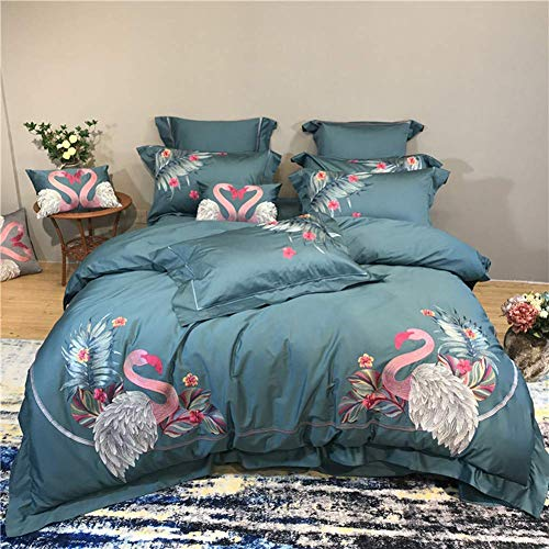 New Red Swan 100S Egyptian Cotton Embroidery Bedding Sets Queen King Royal Duvet Cover Bed Sheet Set (Green,Queen 6Pcs)