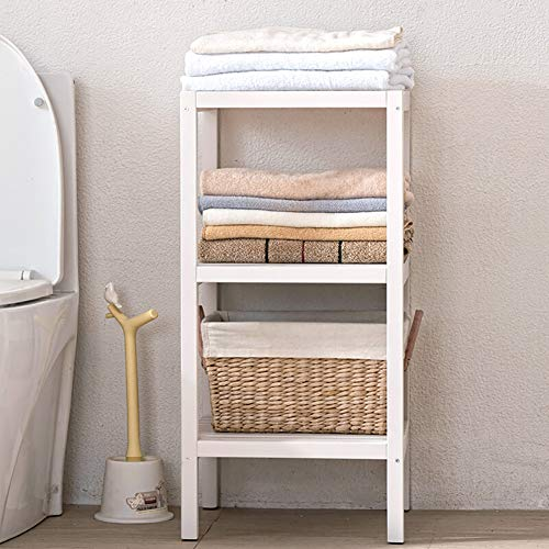 IOTXY Bathroom 3-Tier Towel Shelves, 100% All Solid Wood Storage Rack, Shower Room Floor Shelf, Multifunctional Organizer, Easy Assembly (2nd Generation), White
