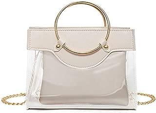 Handbags Women's Transparent Waterproof PVC PU Leather Plenty Room Chain Tote Handbags Shoulder Bag