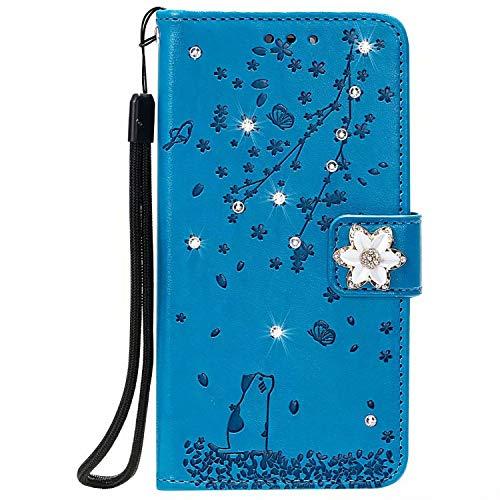 Lomogo Huawei P40 Pro Hülle Leder, Schutzhülle Brieftasche mit Kartenfach Klappbar Magnetisch Stoßfest Handyhülle Case für Huawei P40Pro - LOHHA170766 Blau