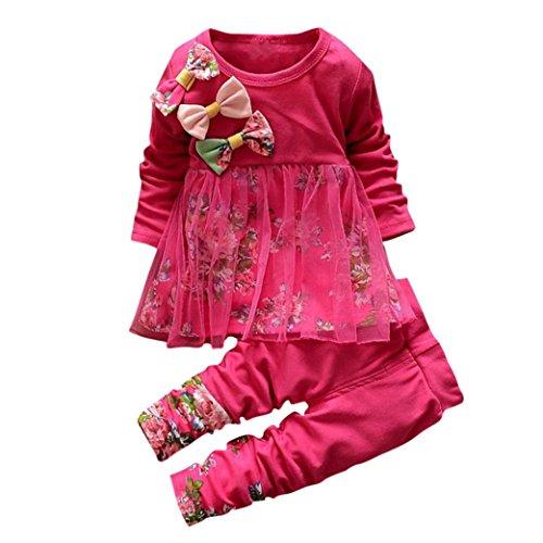 Amlaiworld Winter Blumen drucken Langarmshirt warm Hose Säugling Mädchen Kleider Set,0-36Monate (Rot, 36 Monate)