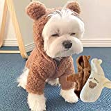 Disfraz de Oso de Peluche para Perro, Disfraz de Oso de Peluche para Mascota, Disfraz de Mascota de Navidad, Disfraz de Oso de Peluche para Perro Mascota (M,Brown+White)