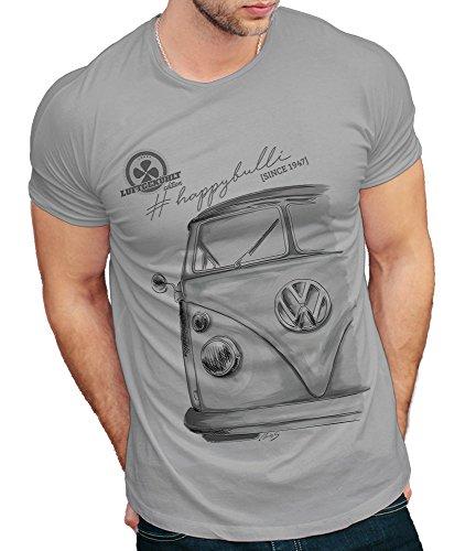 T-Shirt Motiv Bulli T1 Oldtimer Herren grau (L)