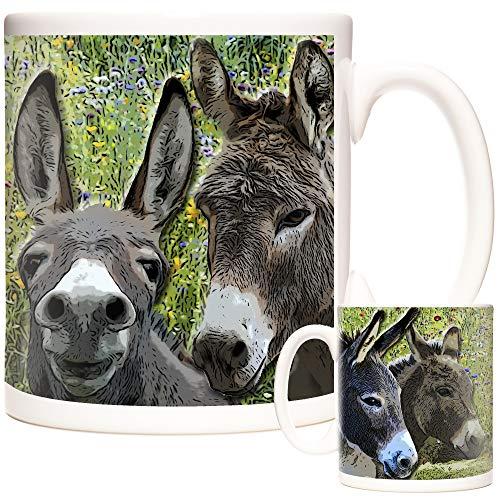 Tasse mit Esel-Motiv. Bilder von schönen Eseln und Wildblumenwiese Keramik-Geschenk-Tasse. Tiere der Welt, Donley Kaffeetasse oder Teetasse