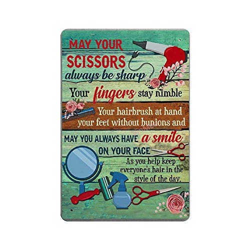 BNIST May Your Scissors Always Be Sharp Vintage Sign Aluminum Tin Metal Signs Warning Sign Retro Plaque Poster Wall Art Decor 8X12 inches