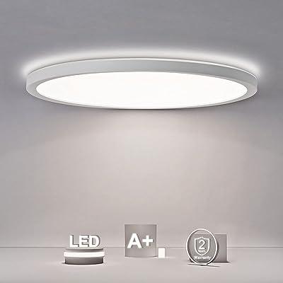 SHILOOK Plafonnier LED rond plat 18 W 2200 lm 4000 K IP44 pour salle de bain/couloir/chambre/cave/balcon, blanc moderne ultra fin 29 cm