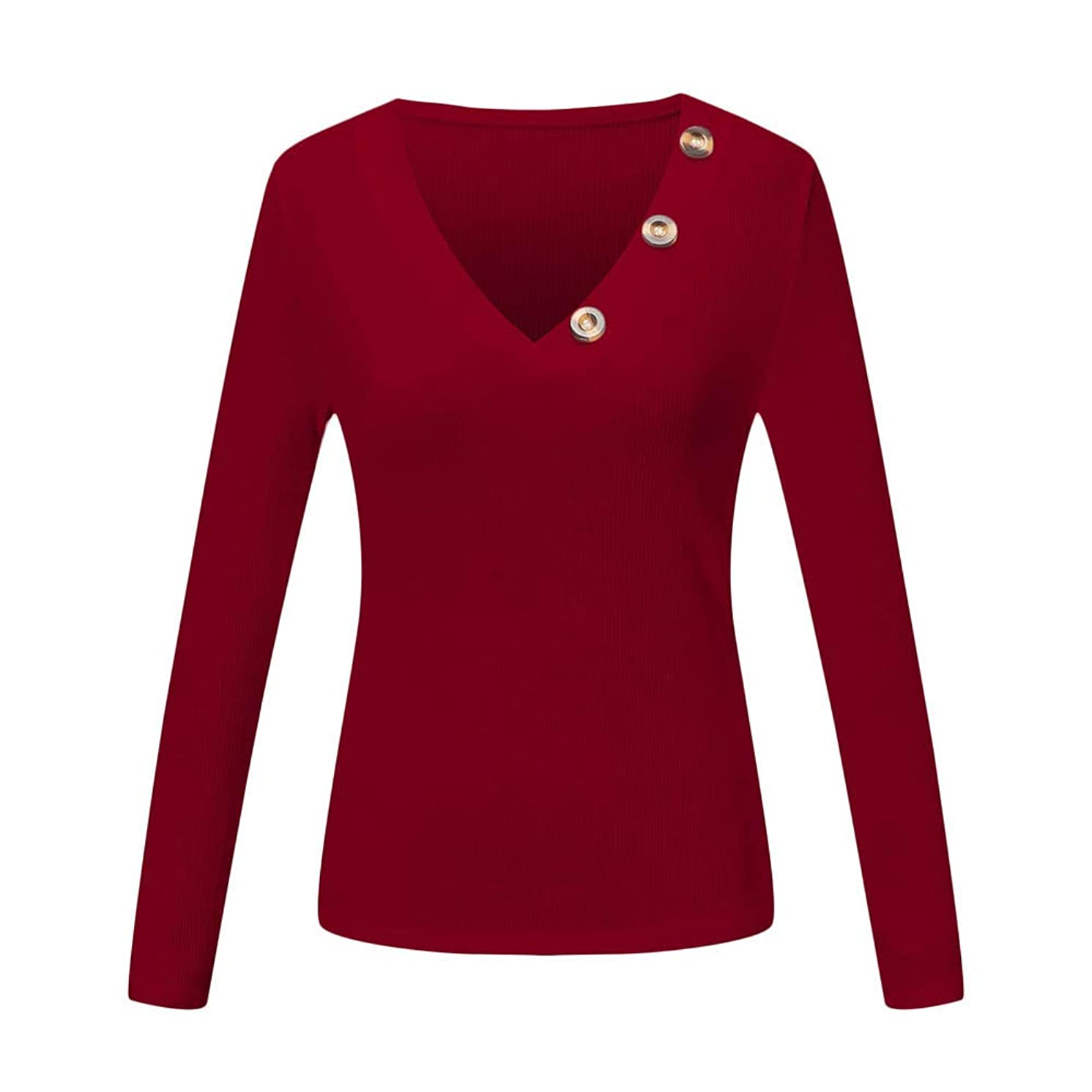 Fashion Womens Casual Button Knit Sweaters Shirts Henley Long Sleeve V Neck Tunic Blouse Pullover Tops