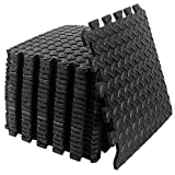 Puzzle Exercise Floor Mat, Gym Flooring for Home Gym with EVA Foam Interlocking Tiles for Gyms, Yoga, Outdoor Workout, Kids, Foam Thick Workout Mat 20 Square Feet (black)