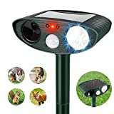 Dog Cat Repellent, Ultrasonic Animal Repellent with Flashing Lights, Outdoor Solar Powered Waterproof Repellent for...
