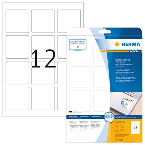 HERMA 10109 Universal Etiketten DIN A4 ablösbar (60 x 60 mm, 25 Blatt, Papier, matt, quadrat) selbstklebend, bedruckbar, abziehbare und wieder haftende Adressaufkleber, 300 Klebeetiketten, weiß