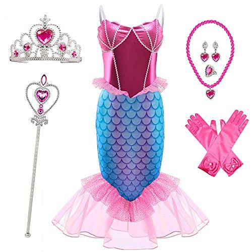 BanKids Disfraz de sirena para niñas, disfraz de Ariel, vestido de princesa, vestido de sirena, 3-4 años (110,K63)